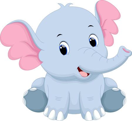 bebe sentado: Lindo bebé de dibujos animados de elefantes