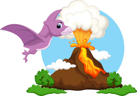 pterodactyl: Funny pterodactyl flying with background volcanoes