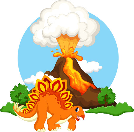 stegosaurus: Cute stegosaurus cartoon dinosaur with volcano background