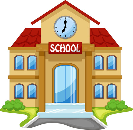 school illustration: School building cartoon