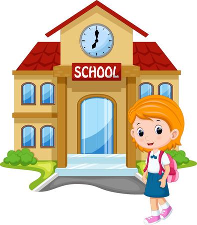 niños jugando en la escuela: Niña que va a la escuela
