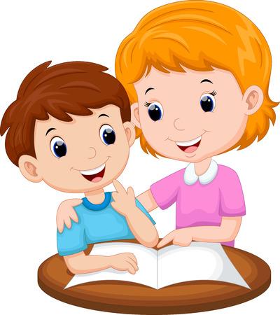 Mother teaching her child Vettoriali