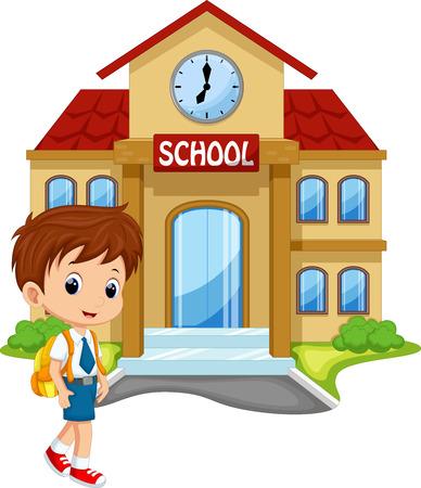 escuela caricatura: El niño pequeño va a la escuela