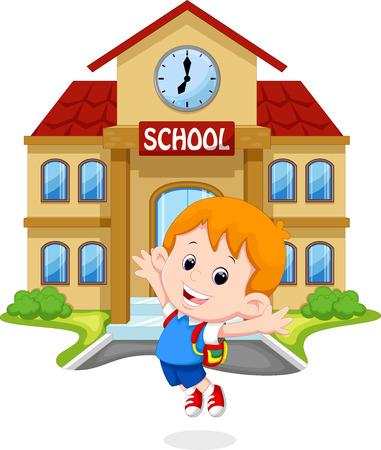 escuela edificio: Little boy saltando de alegría en el plantel escolar