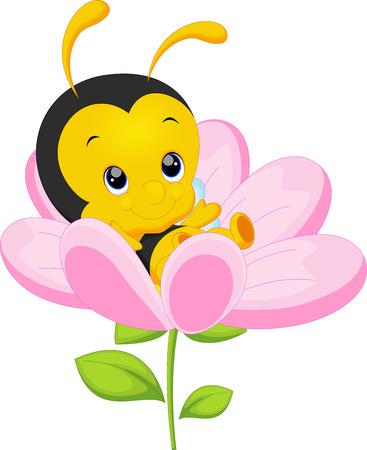 avispa: Pequeña abeja linda en el girasol