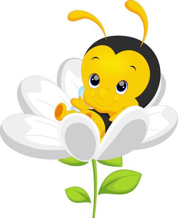 abeja reina: Pequeña abeja linda en el girasol