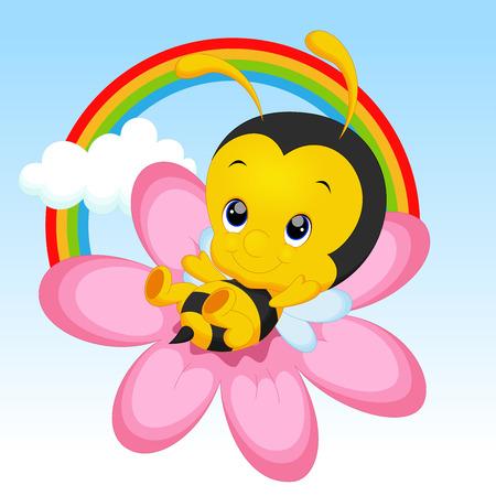 Pequeña abeja linda en el girasol