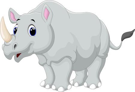 animales de la selva: Dibujo animado del rinoceronte Vectores