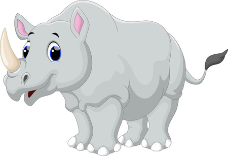 animals horned: Rhino cartoon