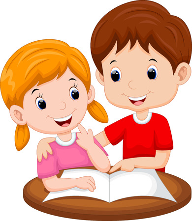 cartoon human: Teaching sister cartoon Illustration