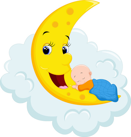 hush hush: Baby Sleeping on Moon Illustration
