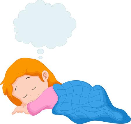 kid vector: Una niña durmiendo y soñando