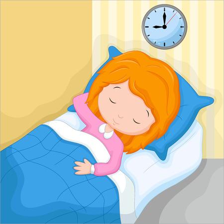 Een klein meisje slapen in haar bed