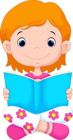 Little girl reading a book Vettoriali