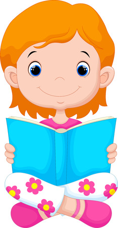 reads: Little girl reading a book Illustration