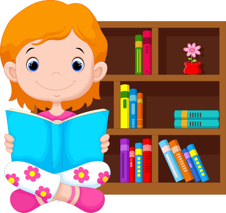 Little girl reading a book Illustration