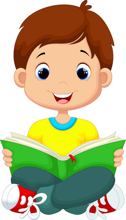 student boy: Little boy reading a book Illustration