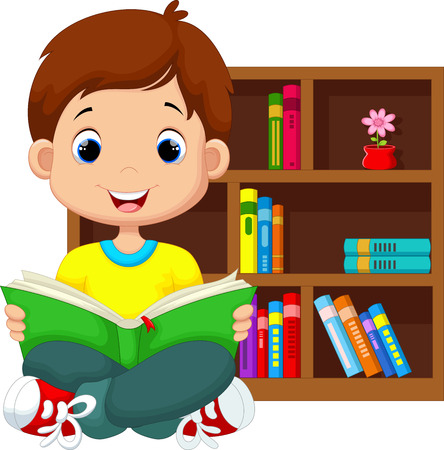 young people fun: Little boy reading a book Illustration