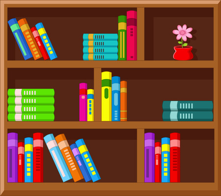 book shelves: Cartoon Library Illustration