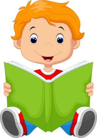 Kid lezen van een boek Stock Illustratie