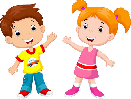 wave icon: Cute cartoon boy and girl