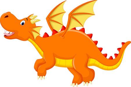 dinosaurio caricatura: Historieta linda del drag�n Vectores
