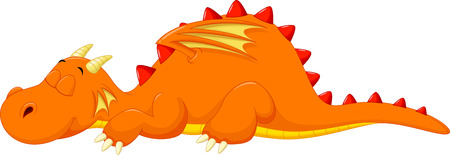 the red dragon: Cute dragon cartoon sleeping