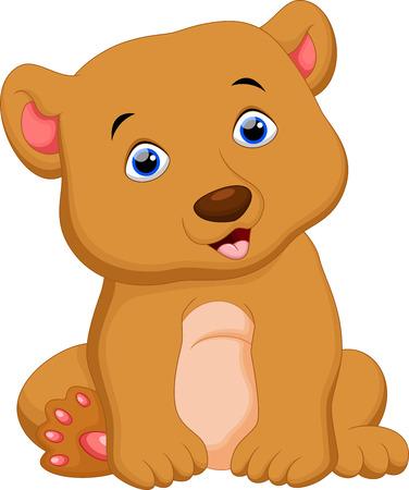 bebe sentado: De dibujos animados oso marrón lindo