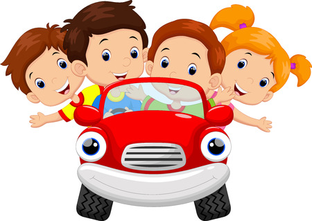 Kids driving car cartoon 向量圖像
