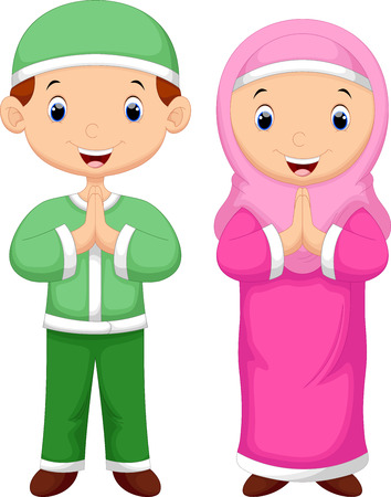 happy couple: Muslim kid cartoon