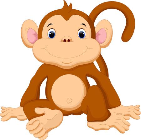 귀여운 아기 원숭이 만화 일러스트