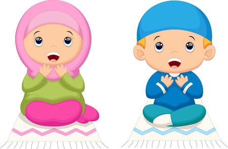 man vector: Muslim kid praying