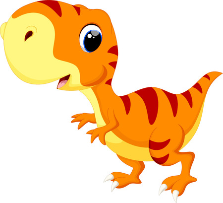 Cute baby dinosaur cartoon Vettoriali