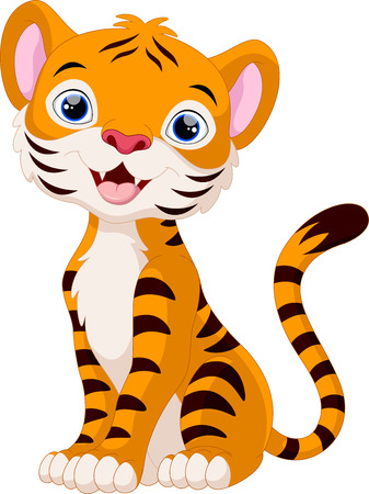 comic art: Cute tiger cartoon sitting