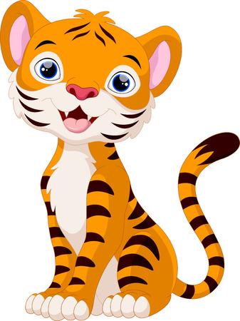 Tiger cub: Tigre lindo estar de dibujos animados