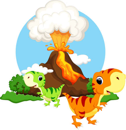 petrifying: Cute baby dinosaur with background volcanoes Illustration