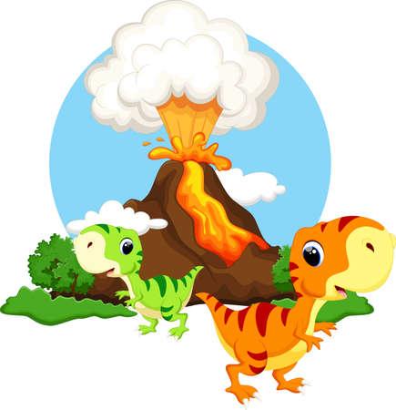 dinosaurio: Dinosaurio lindo del beb� con los volcanes de fondo Vectores