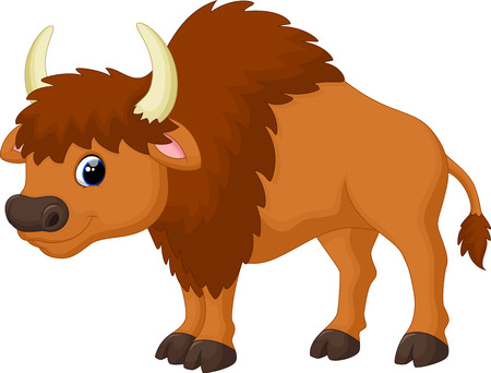 american bison: Cute bison cartoon Illustration