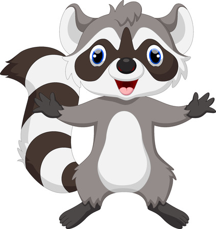 racoon: Cute raccoon cartoon waving