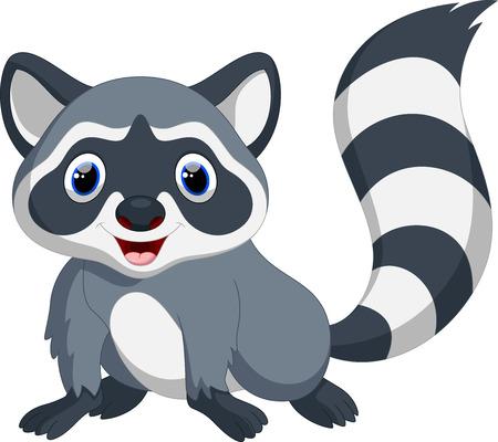 Cute raccoon cartoon 일러스트