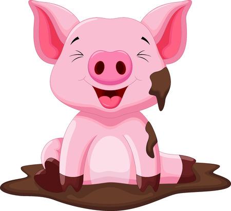 cerdo caricatura: Cerdo divertido jugando en el barro