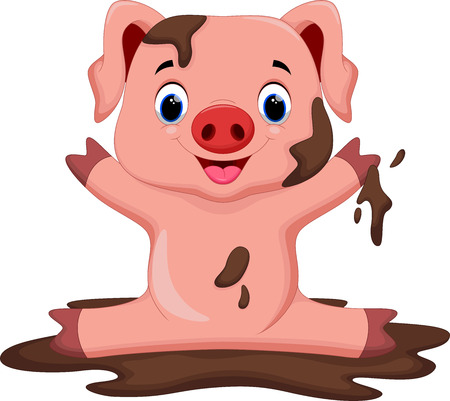 Funny pig playing in the mud