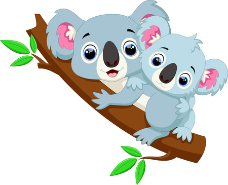 Cute koala cartoon on a tree