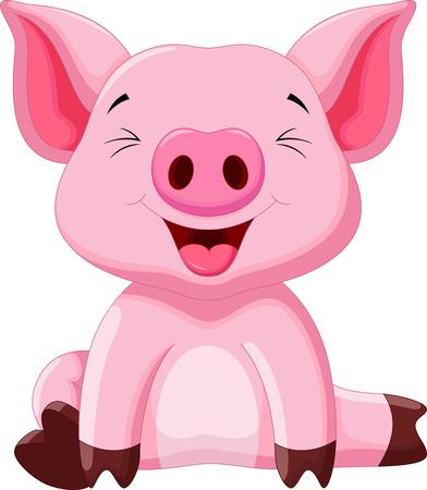 かわいい赤ちゃん豚漫画  イラスト・ベクター素材