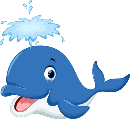 ballena azul: Historieta linda ballena Vectores
