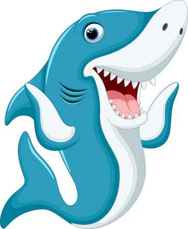 Śliczne Cartoon rekina Ilustracje wektorowe