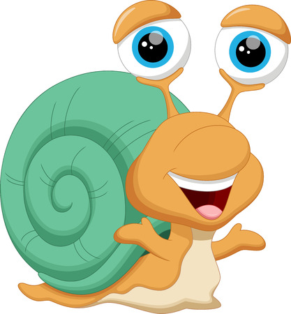 baby illustration: Cute baby snail cartoon