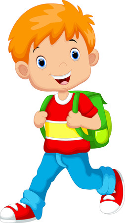bag cartoon: Cute boy on his way to school