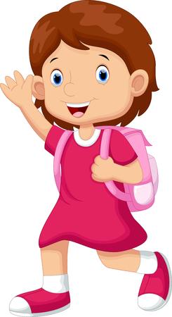cartoon school girl: Cute girl going to school Illustration