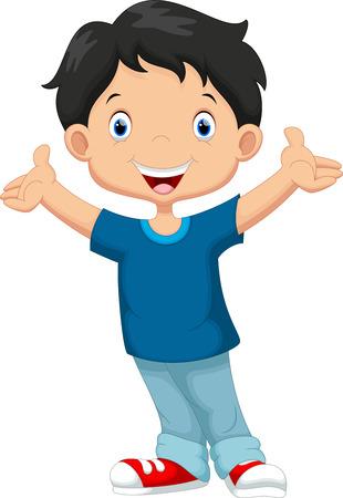 dětství: Šťastný chlapec karikatura
